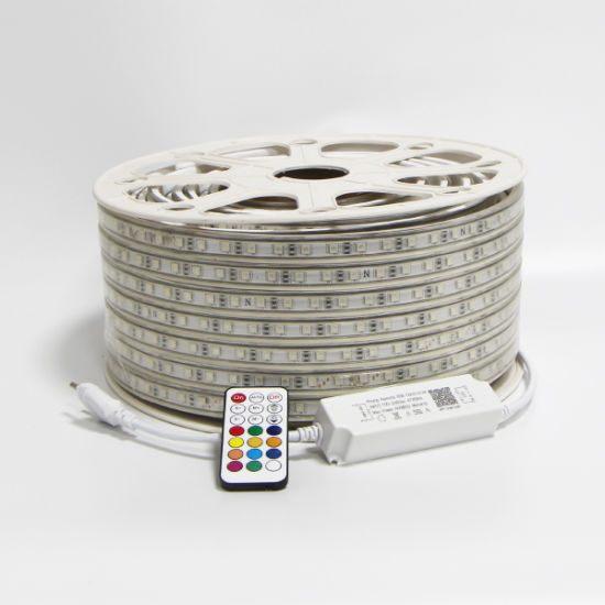 220V 110V RGB LED Strip Lights 5050 50m 100m Multicolor Flexible Roll IP65 Outdoor Waterproof RGB Dual Color Rope LED Light Strip