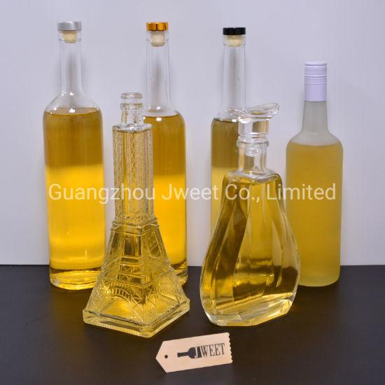 Custom 500 700 750 Ml Unique Frost Vodka Spirit Liquor Glass Bottles Cylinder Oval Flint Wine Bottle