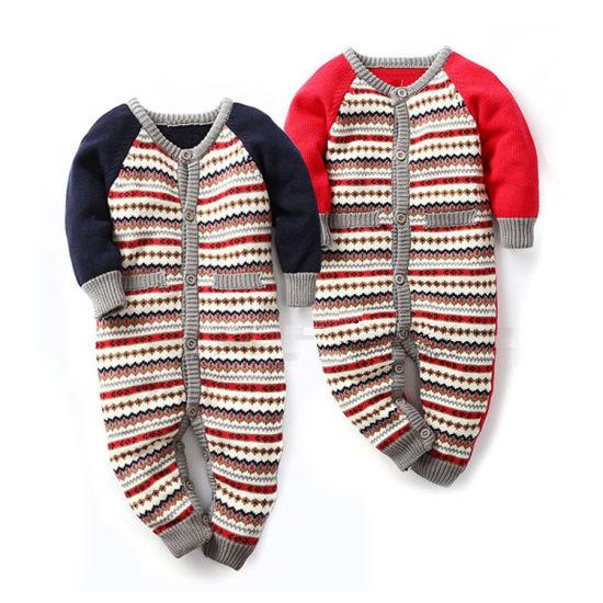 Autumn Winter Striped Series Baby Cardigan Jumpsuit