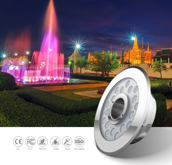 SS316L IP68 24W External Control RGB Commercial Plaza LED Underwater Fountain Light