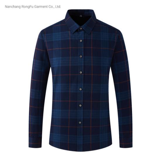 Shirt Comfortable Simplicity Lattice Long Sleeve Casual Men's Shirt