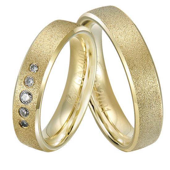 Gold Wedding Set Men and Women Ring
