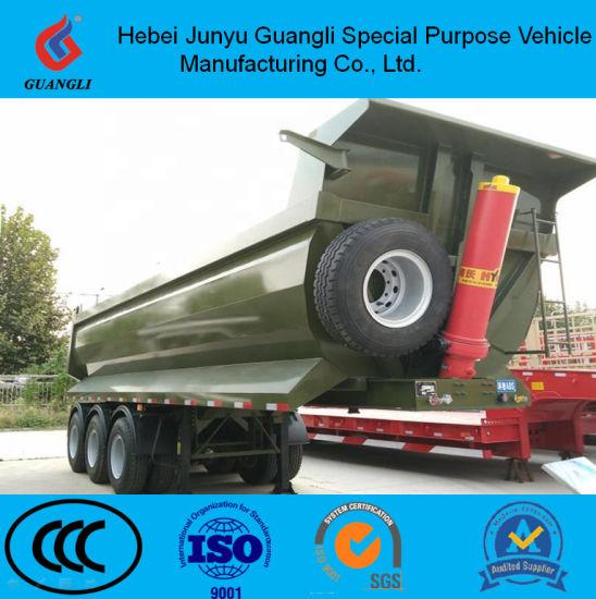 Tri Axle 60ton Hydraulic Cylinder Gooseneck Rear Dump Tipper Semi Trailer