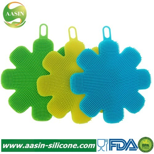 Plum-Shaped Silicone Kitchen Dishwashing Sponge