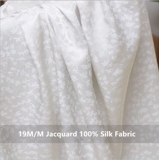19m/M Jacqurd Dobby 100% Mulberry Silk Fabric for Garment