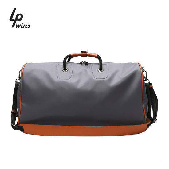 Wholesale Custom Nylon PU Leather Trim Tote Shoulder Bag Mens Duffle Travel Bags