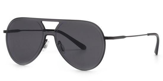 Vintage Pilot Sunglasses, Oversize Rimless Style Black Shade