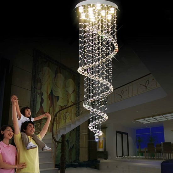 Large Circular Crystal Chandelier for Living Room Bedroom Stairs Home Lighting (WH-CY-14)