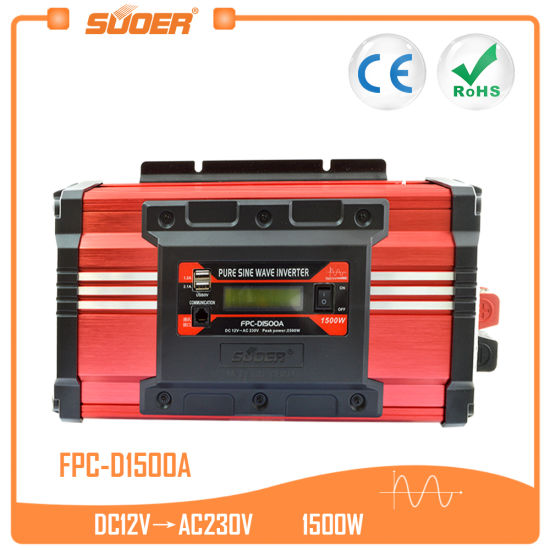 Suoer 12V 220V 1500W Pure Sine Wave Solar Power Inverter (FPC-D1500A) pictures & photos
