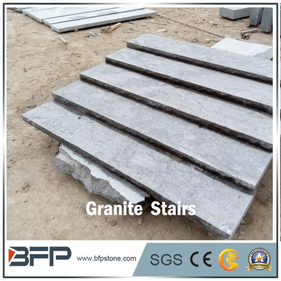 Polished Blue Stone Limestone Tread For Landscape Floor Stair