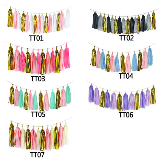15PCS/Set Mix Color Tissue Paper Tassel Garland DIY Wedding Decoration Paper Flower Craft Supplies
