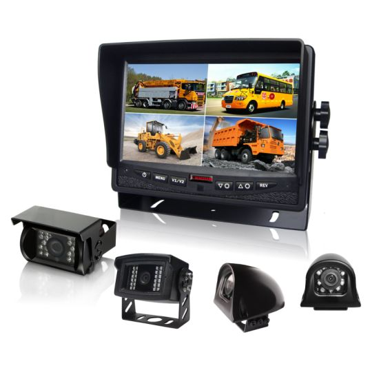 7inch Split Quad LCD Monitor Rear View Camera with Waterproof IP69k Camera for School Bus pictures & photos