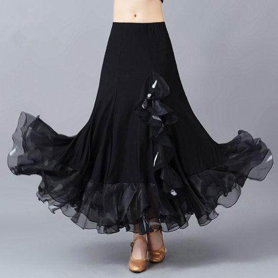 8c93fab1b Pure Black Fringe Long Swing Modern Standard Performance Skirt for Women