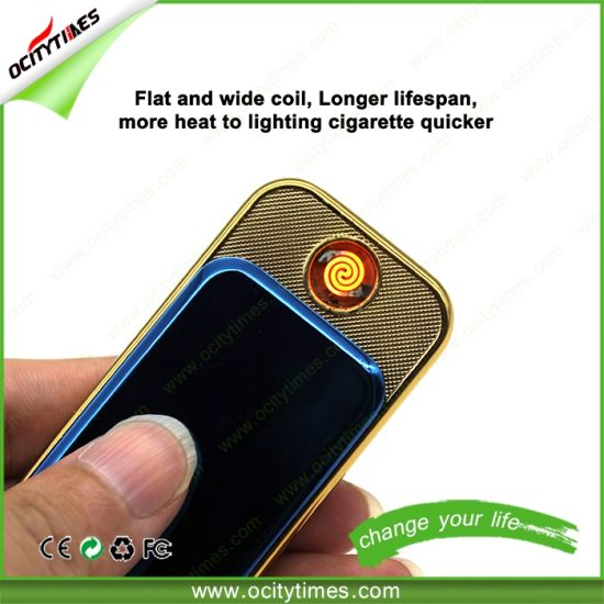 Ocitytimes Mini Slide Rechargeable Flameless E Cigarette Lighter pictures & photos