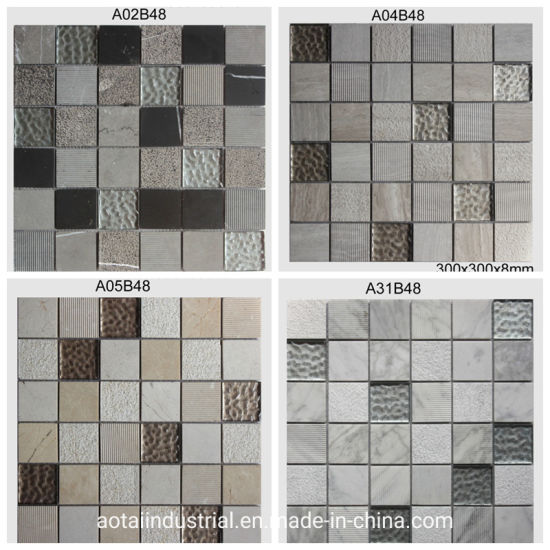 Wholesale Square Shaped Mix Glass Wall Tiles Marble Stone Mosaic
