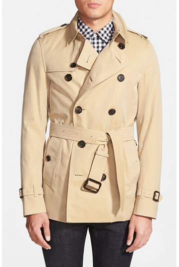Wholesale Customerized Men's Short Double Breasted Trench Coat