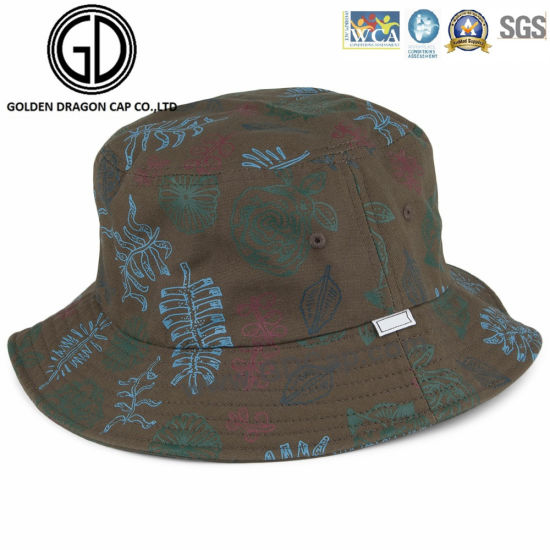 fd7a378dc24 Classic Big Brim Sublimation Leaves Printing Cotton Bucket Hat pictures    photos
