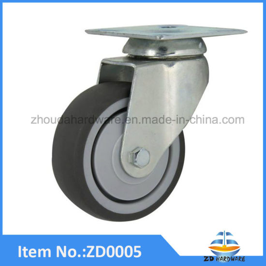 Castor Wheel TPR Caster Soft Rubber Industrial Furniture Wheels 50mm Without Brake pictures & photos