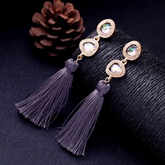 Hot Sale Retro Elegant Ethnic Colorful Gemstone Studded Tassel Earrings for Women pictures & photos