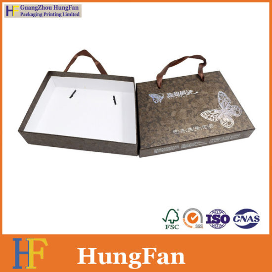 Newest Trapezoidal Enclosure Style Paper Packaging Box with Ribbon