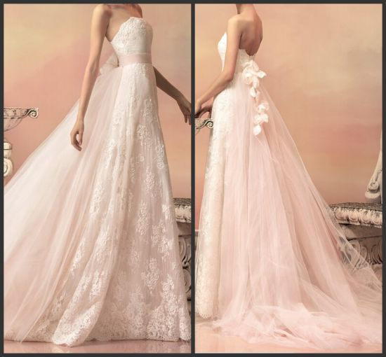 China Empire Waist Wedding Gown Lace Tulle Flowers Bridal Wedding ...
