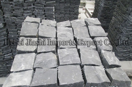 Natural Hebei Balck Patch Decoration Slate Flooring Tiles Garden Paving  Stone 100*100mm, 150*150mm.