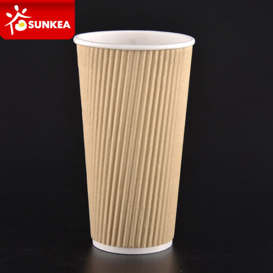 Custom Printed Kraft Ripple Wall Paper Hot Tea Cup pictures & photos