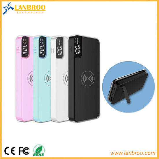 Multi-Functional Wireless Power Bank with USB Port, LCD Screen and Kicking Stand 10000mAh pictures & photos