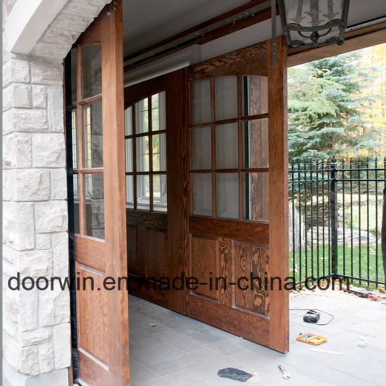 China Brown Color Sliding Main Entrance Doors Design Arched Top