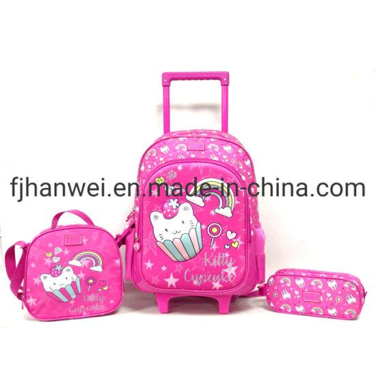 Cute Kitty Girls Rolling Wheeled Trolley School Bag Set