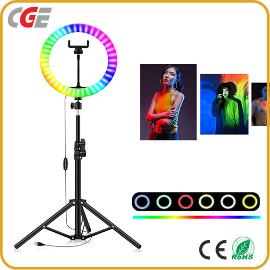 20cm RGB Color Dimming Fill Light with Remote Control for Smartphone Streaming Makeup