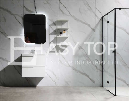 in Stock Italian Economical and Practical Contemporary Grey Wall Hung One Sink Mirror Cabinet Bathroom