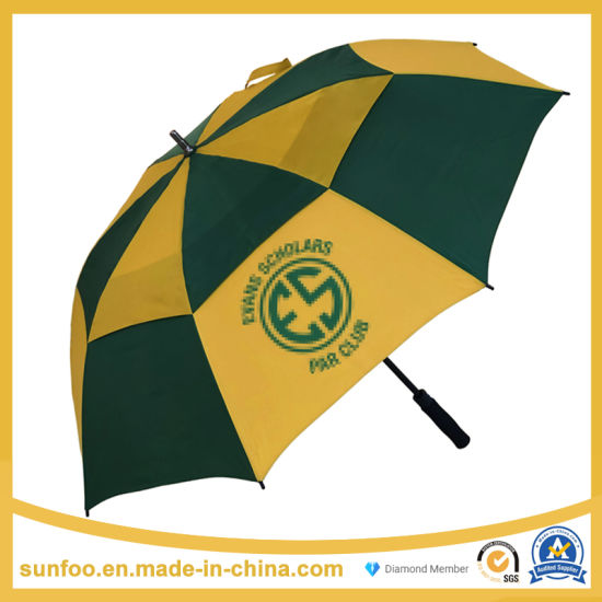 Promotional/Commercial Oversize Customized Logo Print Windproof Automatic Stick Golf Umbrella with Double Canopy Vent for Promotion/Gift/Advertisement/Wholesale