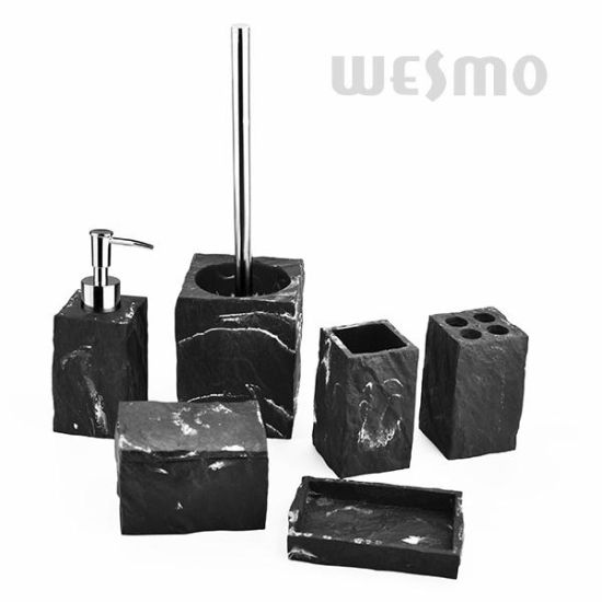 Excellent Black and White Polyresin Bathroom Accessories Sets (WBP1287A)