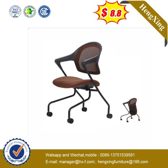 Brown MID Back Folding Chair Plastic Swing Chair with Nylon Wheels