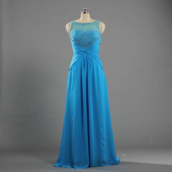 E264 Formal Long Little Train Dresses Chiffon Sleeveless Evening Gowns
