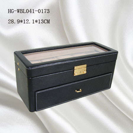 Wholesale Wooden Cover Leather 8PCS Watch Display Box with Glass Windows pictures & photos