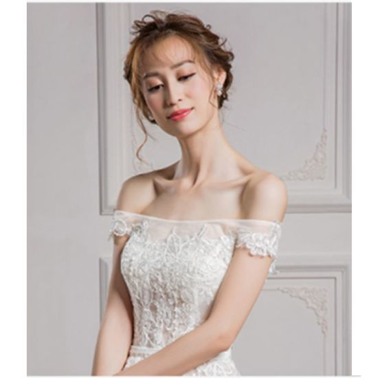 off-Shoulder Thin Lace Floor Length Lady Women Sexy Wedding Dress