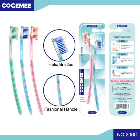 Adult Toothbrush with Helix Bristles 2 in 1 Pack 206