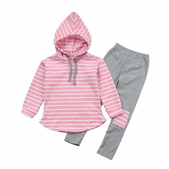 d5bce0f57 PCS Toddler Baby Boy Girl Clothes Striped Hoodie Sweatshirt Long Sleeve Tops  + Patch Pants Set Outfits