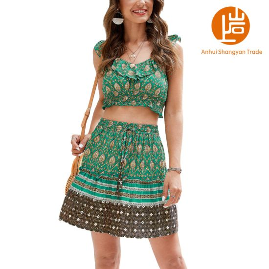 Shangyan Women's Floral Printed Sleeveless Crop Top and Mini Skirt Two Piece Sets Suit