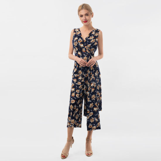 Best-Selling Sleeveless V-Neck Casual Ladies Jumpsuit with Ring