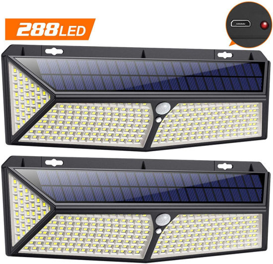 Factory CE 2020 Newest Wholesale Solar Lights Outdoor Top Quality Ultra Bright 288 LED Solar Light Solar Light Emergency Security Solar Garden Solar Wall Light