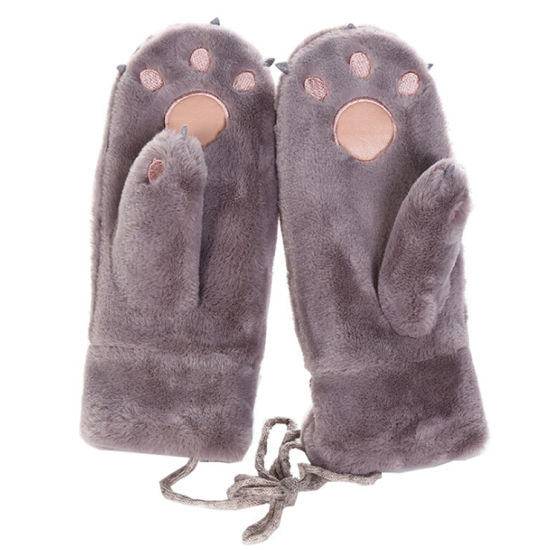 Suede Leather Mittens Winter Warm Thick Gloves with Fur Cuff for Women Girls
