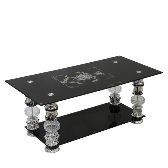 China Tempered Glass Coffee Table New Design Brushed Finish Modern