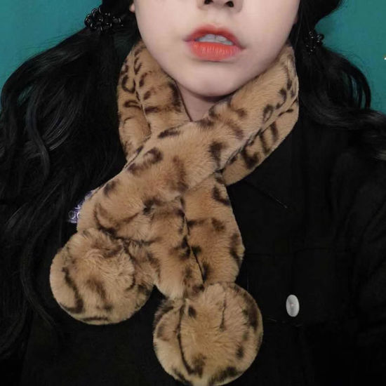 75268754587cb Winter Leopard Animal Print Furs Scarf with Pompoms Warm Girls Fur Collar  Neck Warmer Neckerchief Cross Scarves