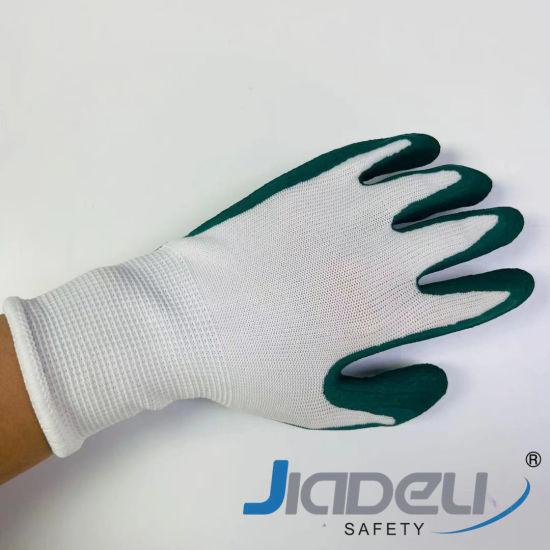 Against Abrasion Children Garden Working Safety Kids 13 Gauge Nylon Liner with Green Foam Latex Work Gloves