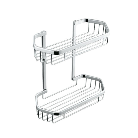 Double-Deck Chrome Plate Wall Mounted Bathroom Brass Soap Basket