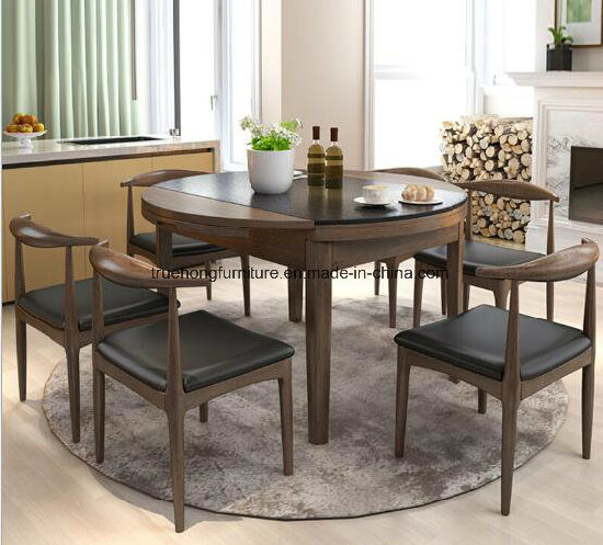 Round Dinner Table Set Hotel Restaurant Furniture Wooden Canteen Furniture Dining Room Furniture Table Set Solid Wood Dinner Table Set