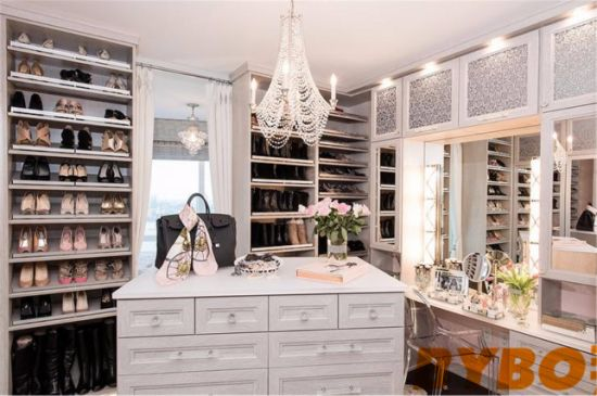 Light Gray Closet With Mirrored Makeup Vanity Cabinets (BY W 64)